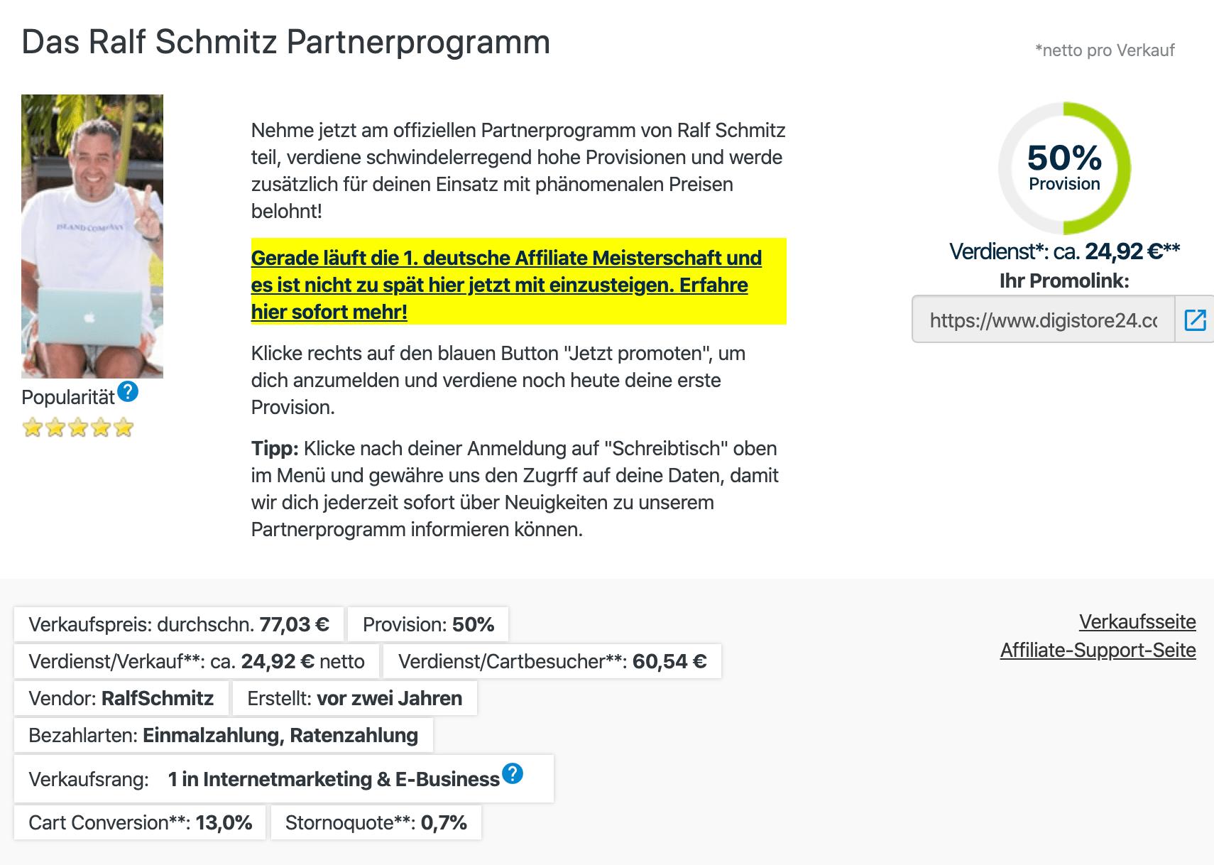 Ralf Schmitz Partnerprogramm