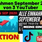 Einnahmen September 2020 - Einnahmen Youtube, Digistore24, TikTok, Dividenden