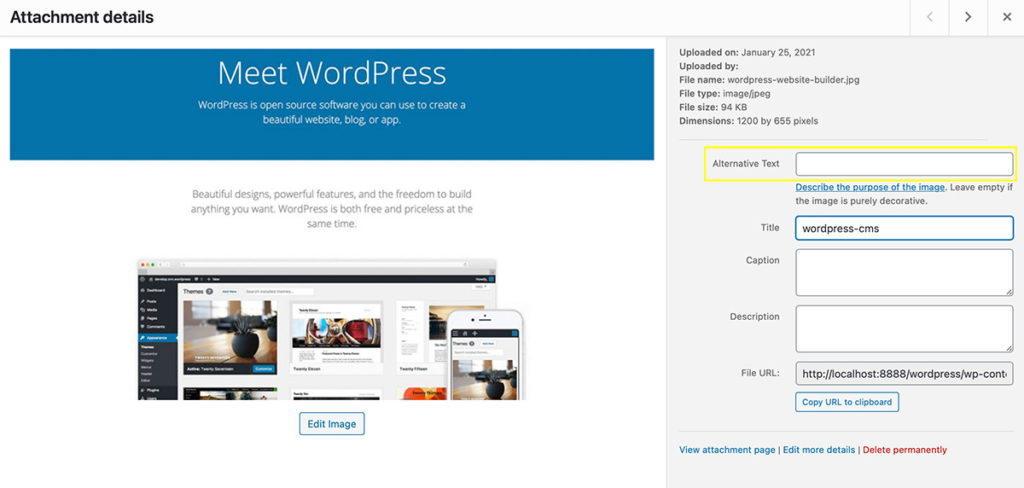 wordpress metadata alt text