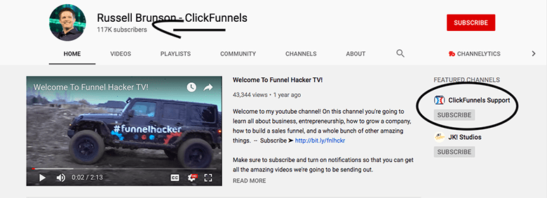 clickfunnels tutorials and support on youtube
