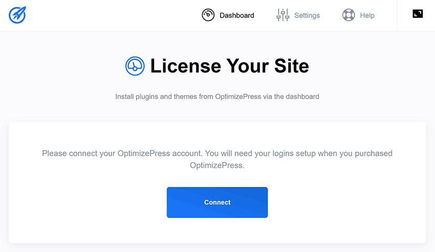 optimizepress dashboard plugin connect