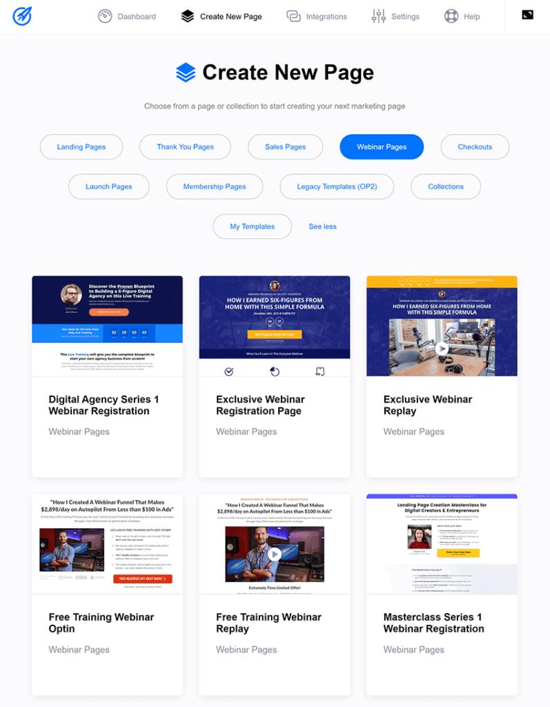 optimizepress dashboard plugin create new page