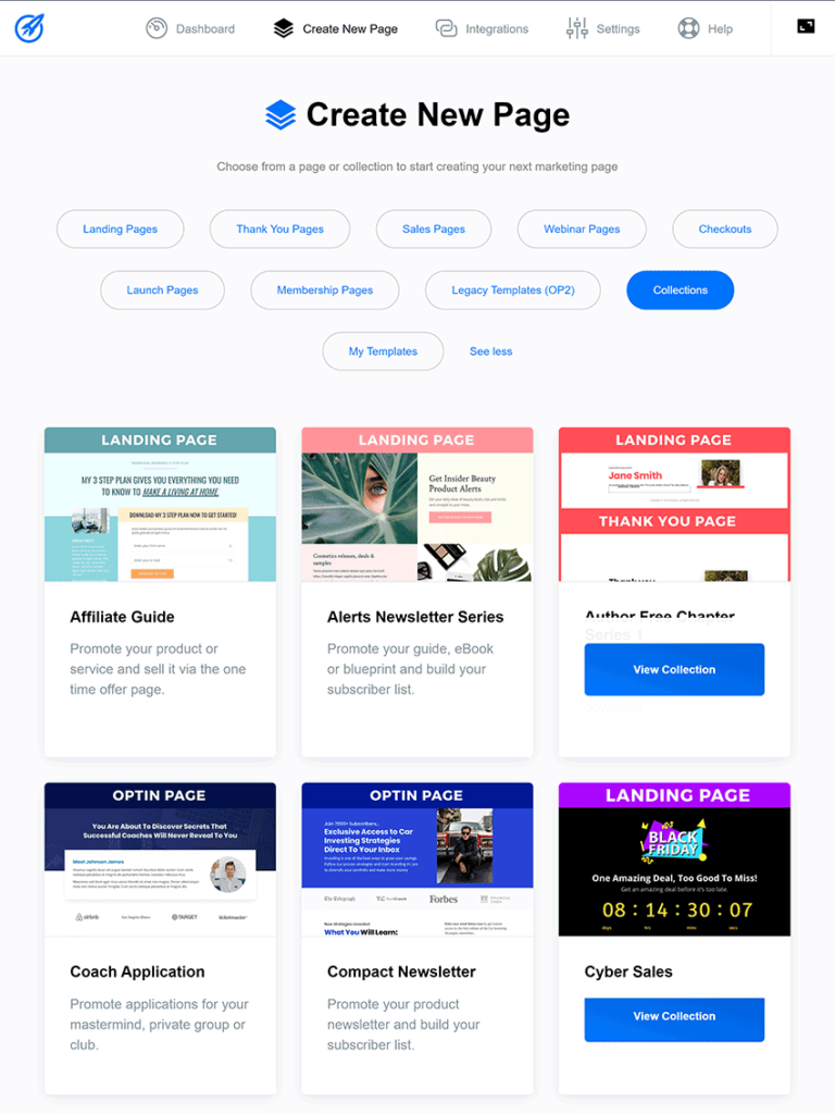 optimizepress dashboard template collections