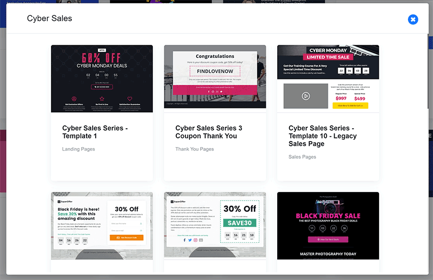 optimizepress dashboard template collections cyber sales