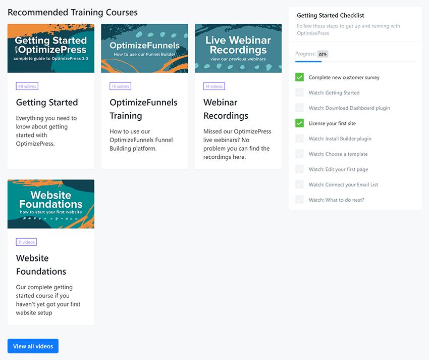 optimizepress getting started checklist