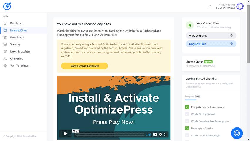 optimizepress licensed sites